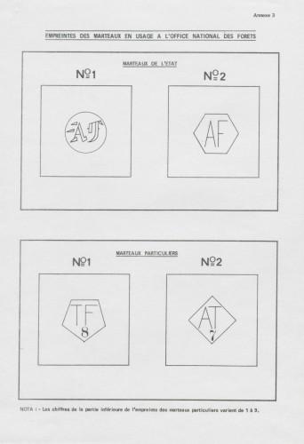 Empreintes de marteaux en usage à l'ONF. Annexe de l'instruction du 19 mars 1975. Cote Archives nationales, 20070299/365