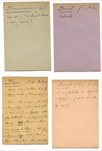 Fiches manuscrites du Dictionnaire topographique de Seine-et-Marne d'Henri Stein et Jean Hubert (1954)