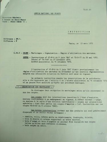 Première page de l'instruction 75-F-61 du 19 mars 1975. Cote Archives nationales, 20070299/365
